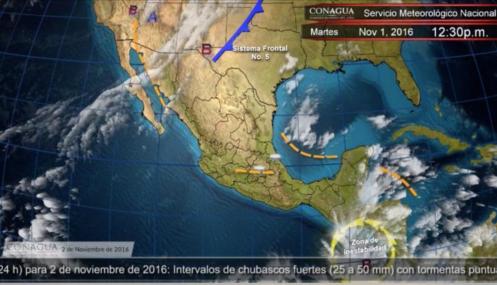 Pronóstico del tiempo para el 2 de noviembre