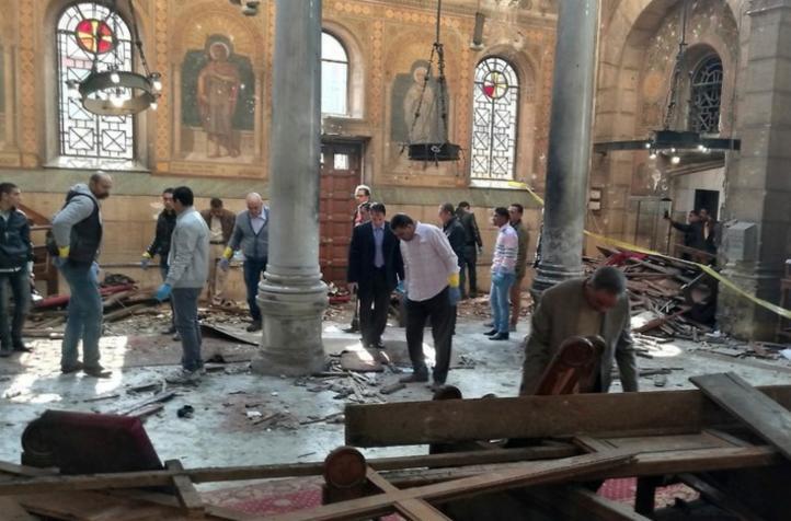 Difunden video del ataque terrorista en iglesia cristiana de El Cairo