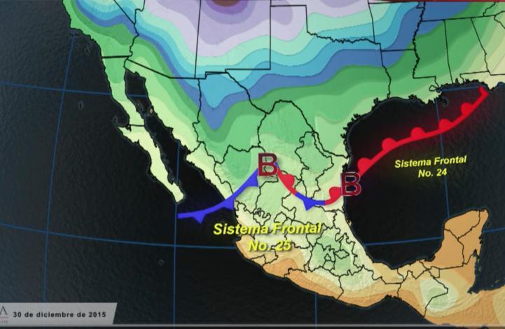 Frente frío número 25 se extenderá en el norte del país