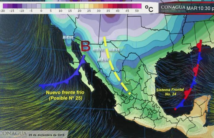 Frente Frío provocará el descenso de la temperatura en el norte del país